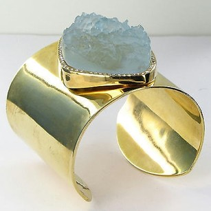 Kara Ross Kara Ross Wide Raw Resin Cuff Bracelet Crystals 14k Gold Plated