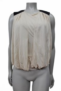 Karen Millen Sleeveless With Drapery Black Faux Leather Top Nude