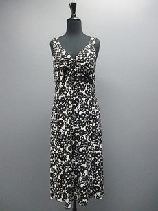 Karin Stevens Black And White Sleeveless Below The Knee 3026 Dress