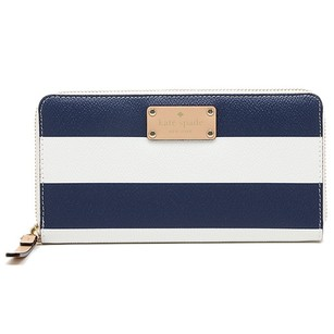 Kate Spade Blue Cream and Navy Stripe Clutch