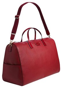 Kate Spade Gold Hardware Pebbled Leather Overnight Oversized Train Car Red Travel Bag