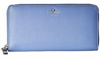 Kate Spade Kate Spade Vista Blue Cobble Hill Leather Zip Around Lacey Wallet Pwru1809