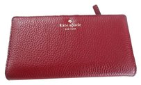 Kate Spade Kate Spade Cobble Hill Stacy Pebbled Leather Clutch Wallet Merlot
