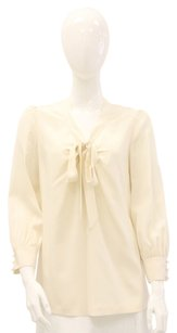 Kate Spade Keyhole Bow Self Tie Silk Long Sleeve Top Ivory