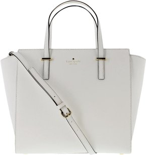Kate Spade Leather Gold Satchel in Bright white