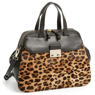 Kate Spade Leather Satchel in Black and Leopard