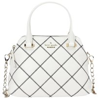 Kate Spade Maise Black White Gold Satchel in Cement/Black