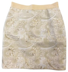 Kate Spade Metallic Floral Brocade Jacquard Mini Skirt Gold