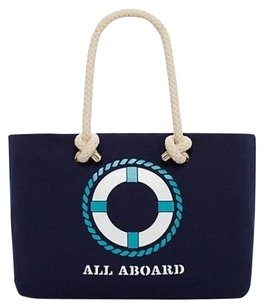 Kate Spade Perfect For Travel Tote in Navy Blue and White