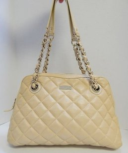 Kate Spade Nude Gold Coast Maryanne Quilted Leather Satchel in Beige