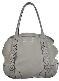 Kate Spade Womens Textured Leather Handbag Satchel in White
