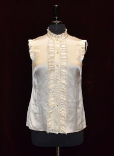 Kate Spade A6 100 Silk Ruffled Front Collar Top Off White