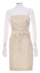 Kate Spade Wedding Bride Short Brocade Gold Bridal Strapless Dress