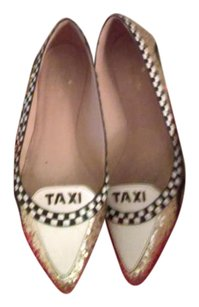 Kate Spade White gold and yellow Flats
