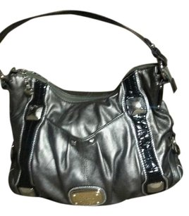 Kathy Van Zeeland Satchel in Black. & silver with a gold plate