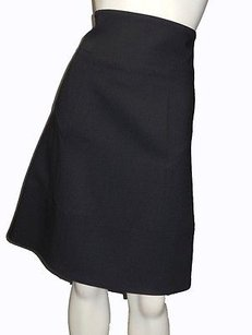 KAUFMANFRANCO Wool Blend High Waisted A Line Above Knee Hs2830 Skirt Black