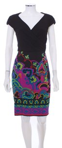Kay Unger Black Paisley Rouched Dress