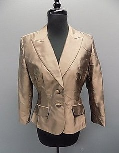 Kay Unger Kay Unger York Brown Silk Lined Button Front Blazer Jacket 355a