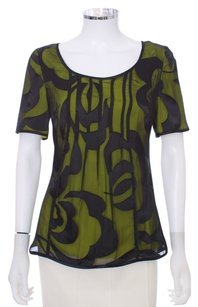 Kay Unger Silk Embossed Floral Embellished Overlay Top Black and Lime
