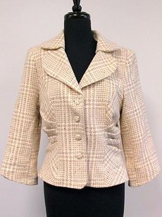 Kay Unger Unger Tan Beige Wool 34 Sleeve Lined Ruched Sides Button Blazer Sma3000