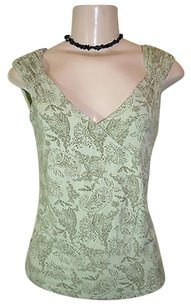 Kenneth Cole Floral Paisley Lace Print Sleeveless Knit Top Green