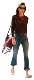 Kenneth Cole Leather Luxury Fringe Hem Suede Classic Shoulder Bag