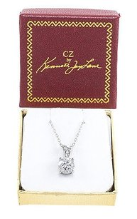 Kenneth Jay Lane Cz By Kenneth Jay Lane Rhodium Plated Dazzling Ct Solitaire Halo Necklace