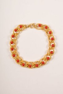 Kenneth Jay Lane Kenneth Jay Lane Gold Tone Red Chunky Chain Link Cabochon Choker Necklace
