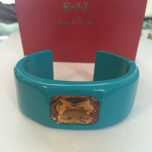 Kenneth Jay Lane KJL Vintage Collector's Blue Turquoise Resin Bracelet Cuff with Honey Yellow Stone