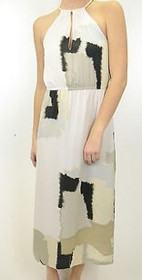 White Maxi Dress by Kensie Retro Print Chiffon