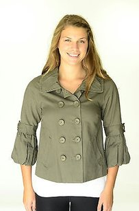 Kensie Ruffle Collar Army Pea Coat