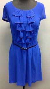 Kensie Polyester Side Zip Ruffle Front Accent Skinny Belt Sm8164 Dress