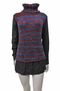 Kensie Black Multi Neck Chunky Knit Striped Sweater