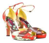 Kenzo Red Brown Yellow Floral Multi-Color Sandals