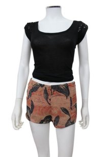 Kimchi Blue Urban Outfitters Leaf Print Shorts Black Motif