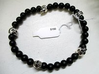King Baby King Baby Black Mens Onyx Bracelet With Sterling Silver Skulls -