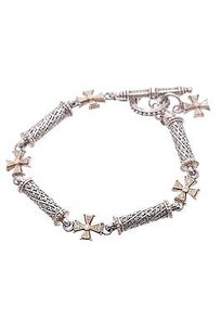Konstantino Konstantino Sterling Silver 18k Gold Diamond Cross Bracelet