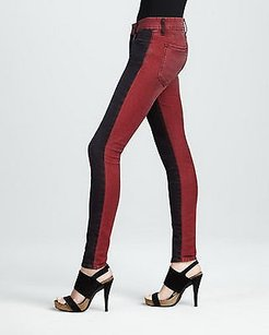 Koral Colorblock Red Tinted Skinny Stretch Skinny Jeans