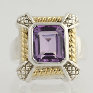 Krementz Chunky Amethyst Ring - Sterling Silver 18k Gold Krementz 7.25 Cocktail