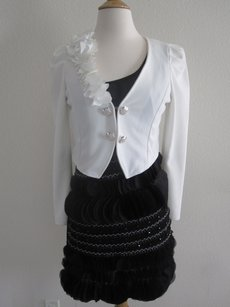 White Black Silk Chiffon Beaded Lace Embroidered Floral Jacket Modest Dress Size 2 (XS)