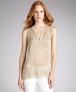 L'AGENCE Lagence Stone Beaded Top Beige