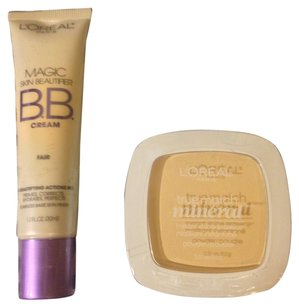 L'Oréal BRAND NEW 2 Peice Lot-1 Magic Skin Beautifer BB CREAM Foundation-Fair/Light 2True Match Mineral Face Powder/Powder Puff Color-Ivory/Light -Retail $29.98