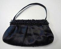 La Regale La Zip Sequenced Evening W Short Strap Satin B3307 Black Clutch