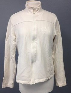 Lacoste Lacoste Ivory Cotton Long Sleeve Zip Front Collared Athletic Jacket 259 A