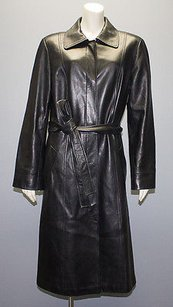 Lafayette 148 New York Leather Button Front Belted Long Hs1312 Coat