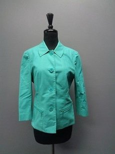 Lafayette 148 New York Button Up W Zippered Cotton Blend Sm2228 Teal Jacket