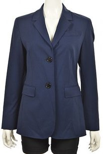Lafayette 148 New York Lafayette 148 Womens Navy Blue Blazer Wool Long Sleeve Career Jacket