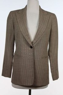 Lafayette 148 New York Lafayette 148 Petites Brown Pink Striped Blazer 2p Rayon Blend Long Sleeve