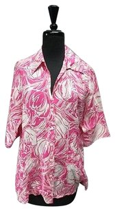 Lafayette 148 New York Pink White Top Pink/White