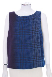 Lafayette 148 New York Tweed Wool Sleeveless Classic Top Blue Black Ombre